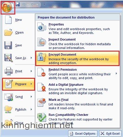 cách đặt pass cho file excel