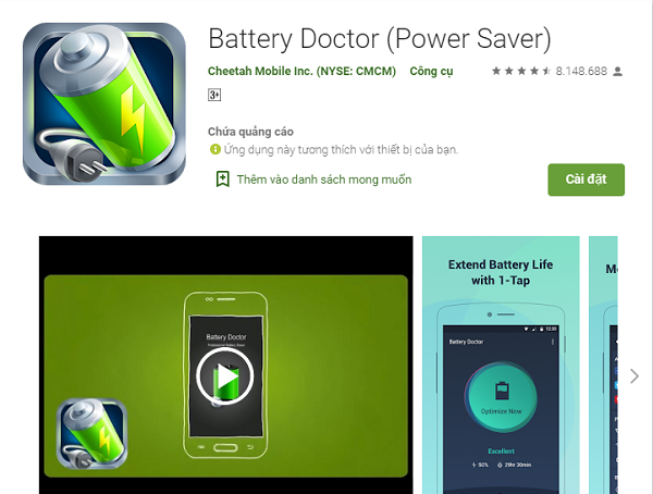 Ứng dụng Battery Doctor được nhiều người tin tưởng sử dụng