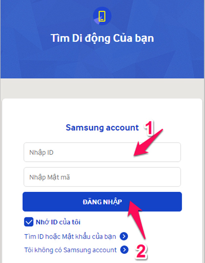Cách phá mật khẩu máy tính bảng samsung bằng sử dụng công cụ Find My Mobile