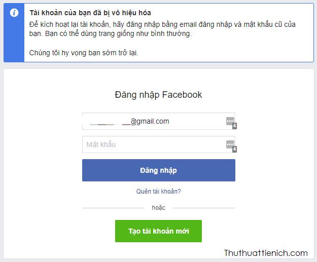 Kết thúc quá trình khóa tài khoản Facebook tạm thời